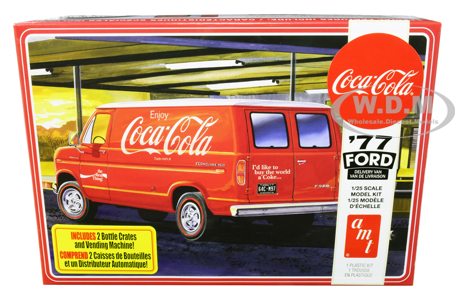 Skill 3 Model Kit 1977 Ford Delivery Van with 2 Bottles Crates and Vending Machine