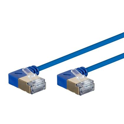 SlimRun™ Cat6A 90 Degree 36AWG S/STP Ethernet Network Cable - Blue - Monoprice® - 0.5ft