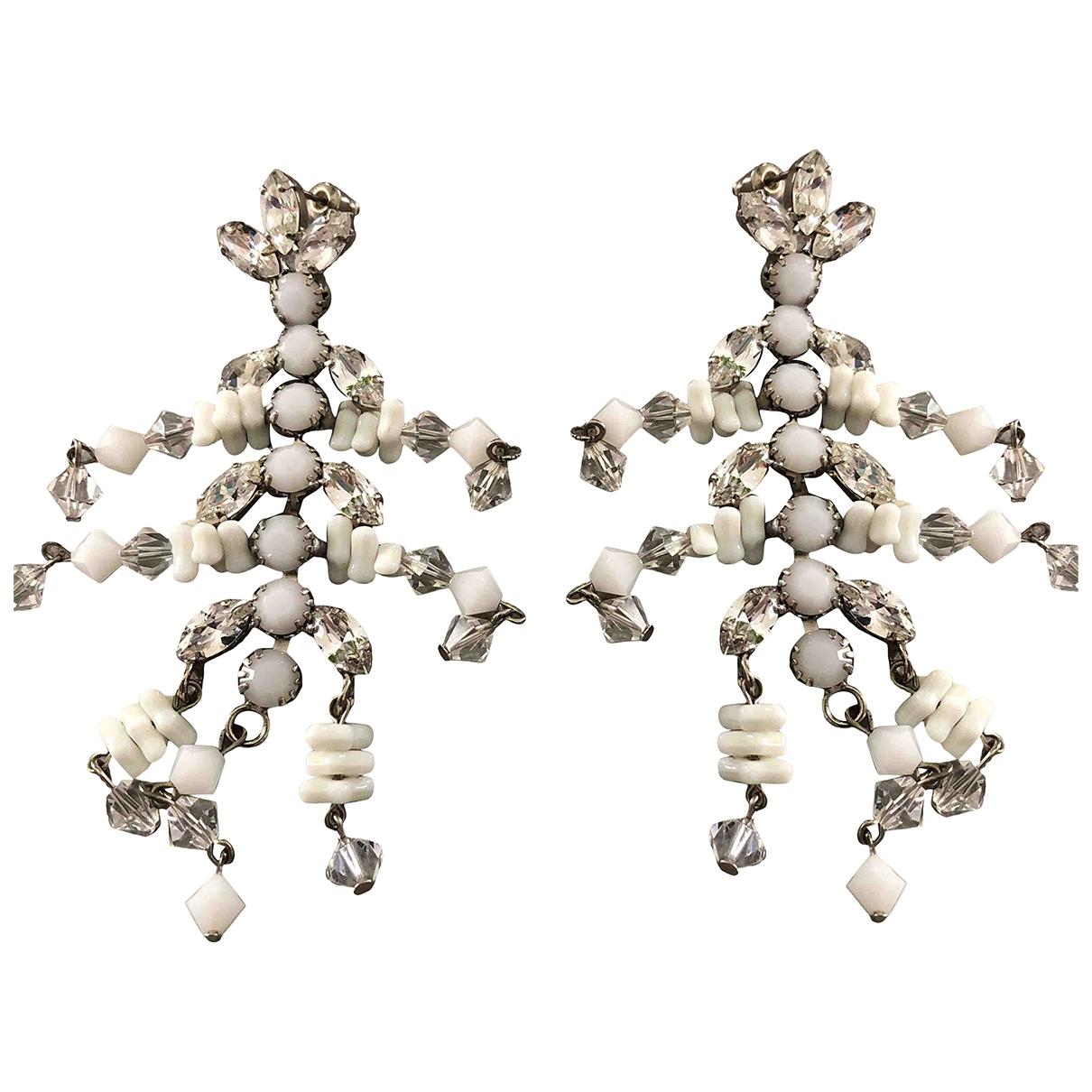 - Boucles doreilles   pour femme en acier - blanc
