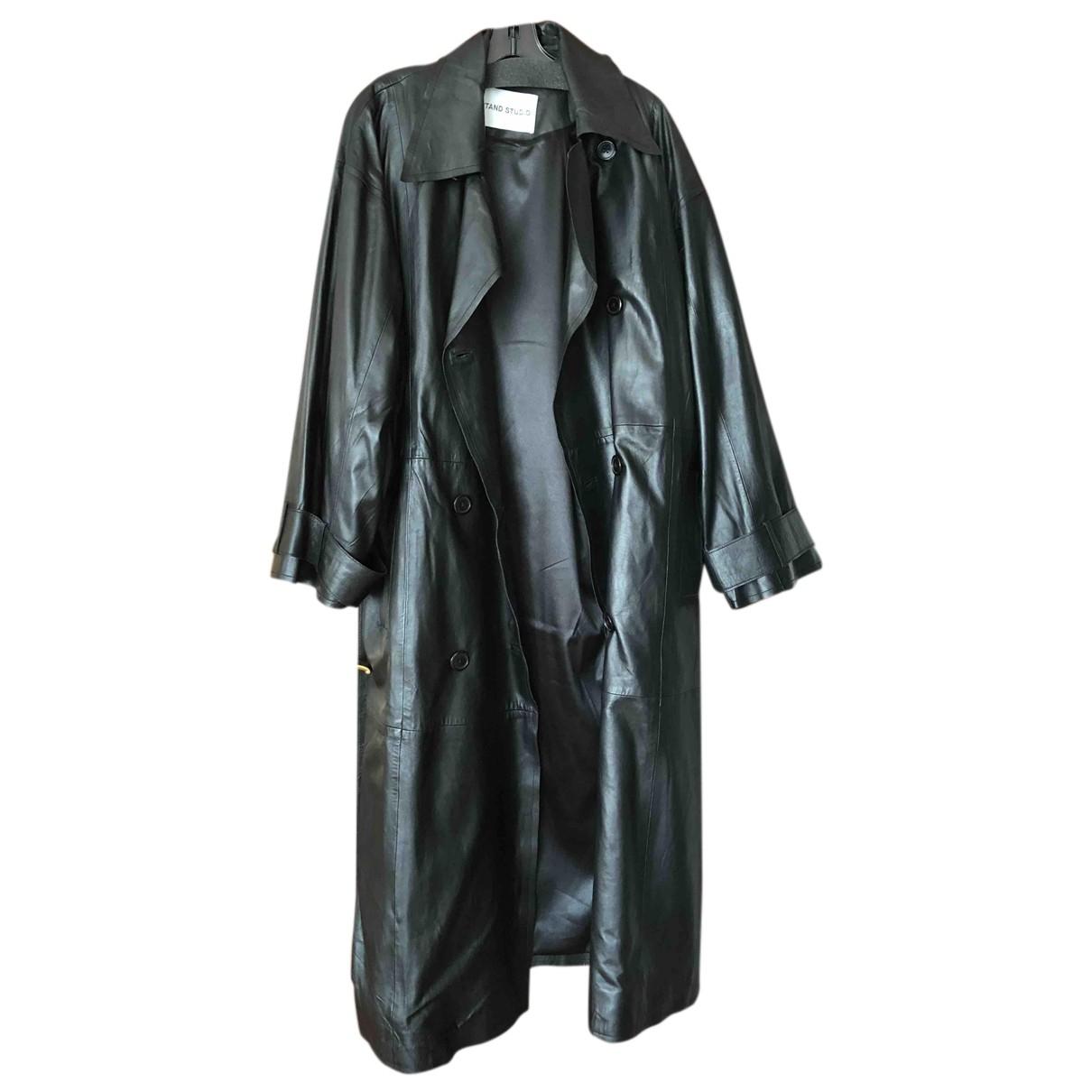 Stand Studio - Trench   pour femme en cuir - noir