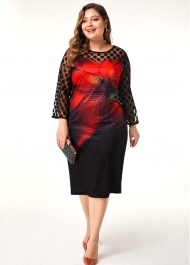 Women'S Black Floral Print Plus Size Casual Dress Illusion Three Quarter Sleeve Sheath Midi Fall Dress By Rosewe - 2X