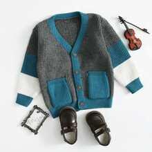 Strickjacke mit Farbblock und Knopfen