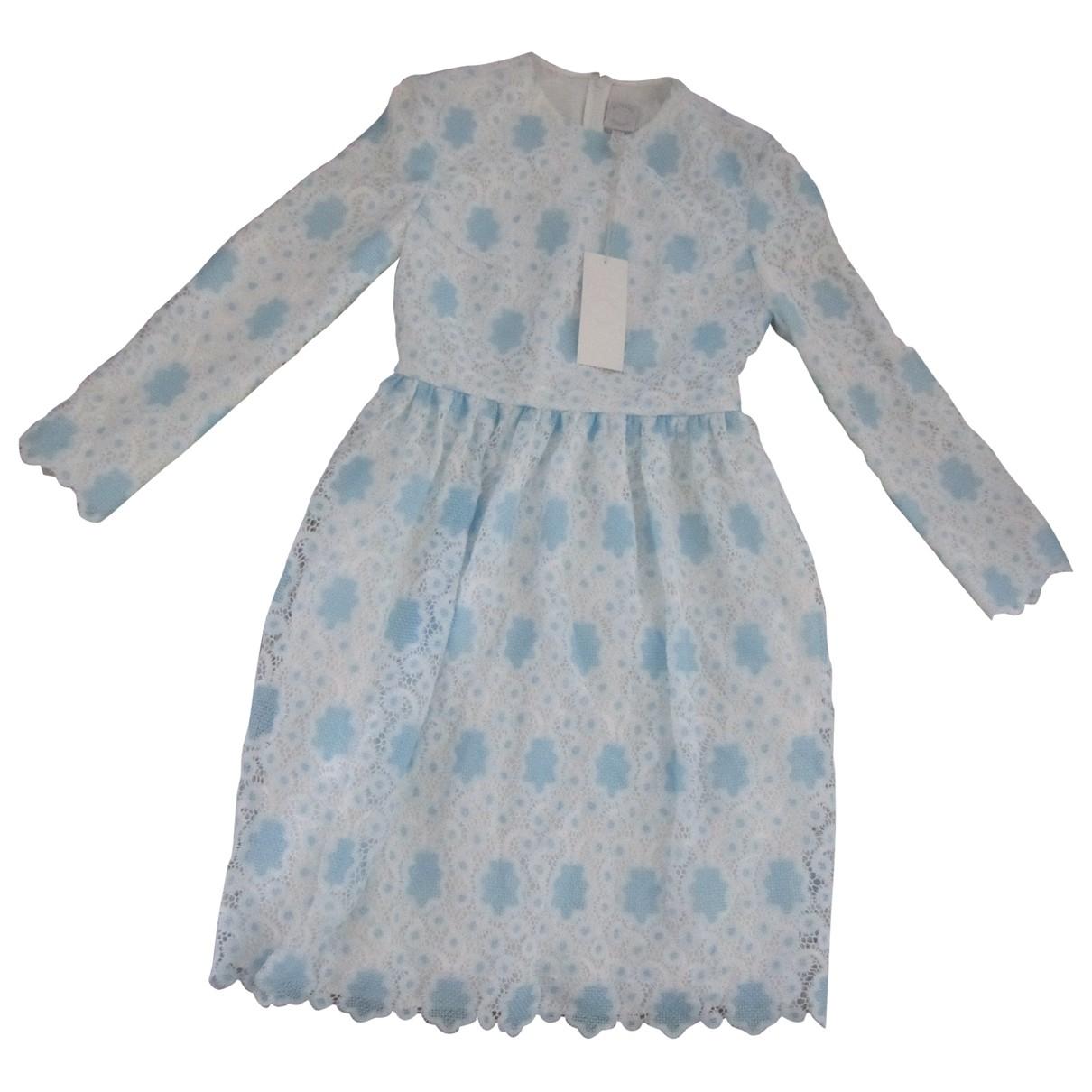 Huishan Zhang \N Kleid in  Blau Spitze