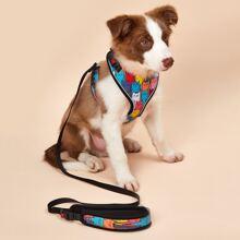 1pc Cartoon Graphic Dog Harness & 1pc Dog Leash