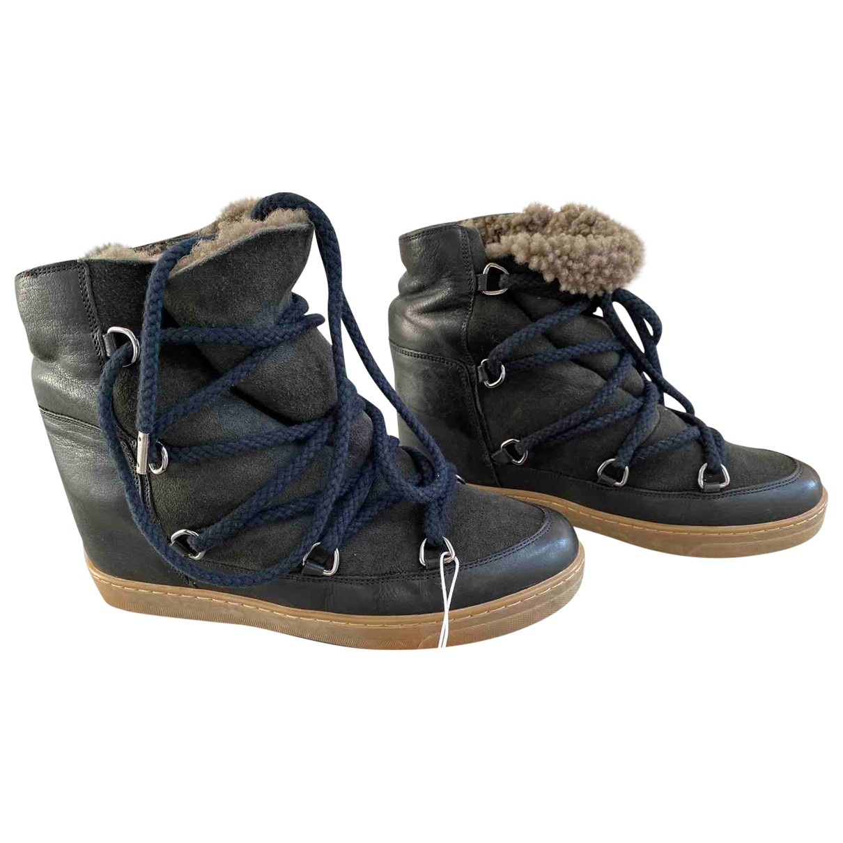 Isabel Marant Etoile \N Black Leather Ankle boots for Women 39 EU