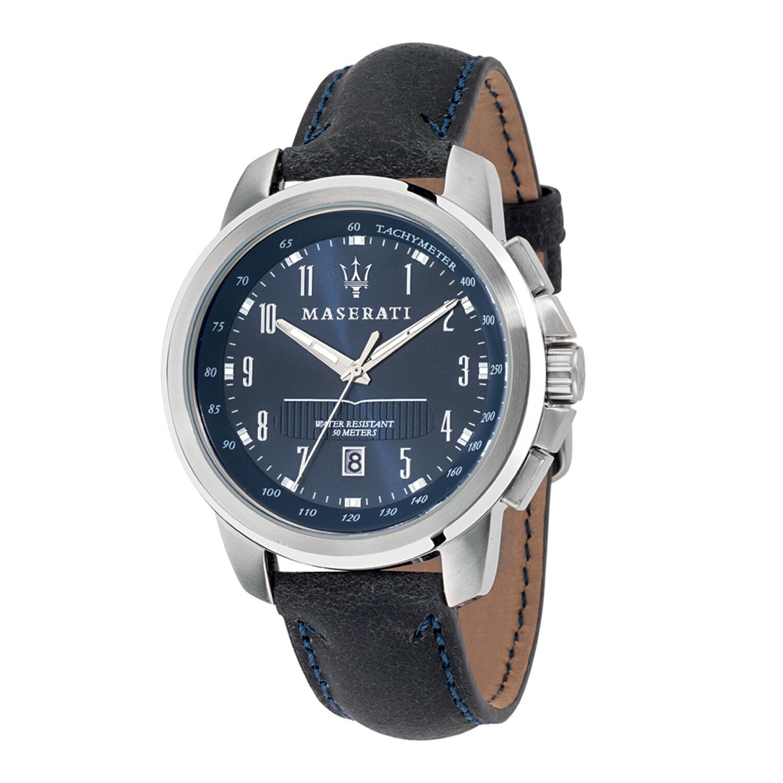Maserati Watch R8851121003 Successo Tachymeter, Date Window, Luminous-Blue / Stainless Steel
