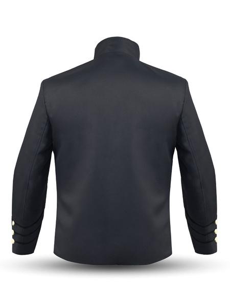 Milanoo Men Vintage Jacket Button Decor Stand Collar Uniform Costume