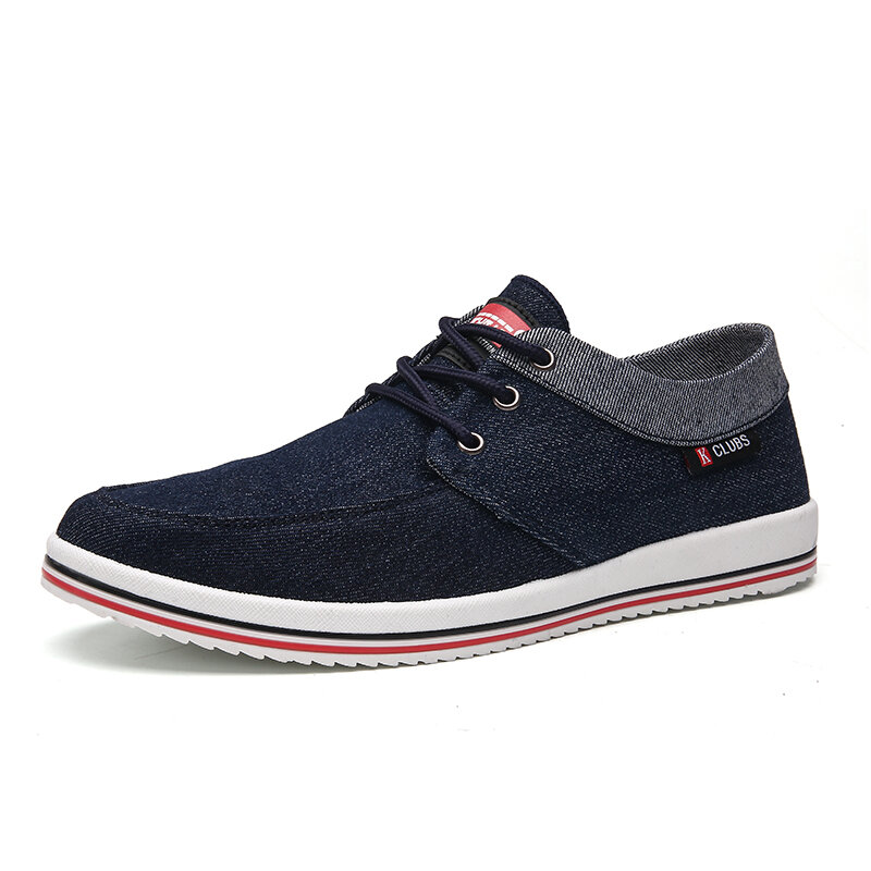 Men Washed Canvas Breathable Lace Up Casual Shoes