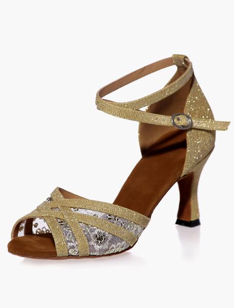 Milanoo Open Toe Black Mesh Glitter Ballroom Shoes