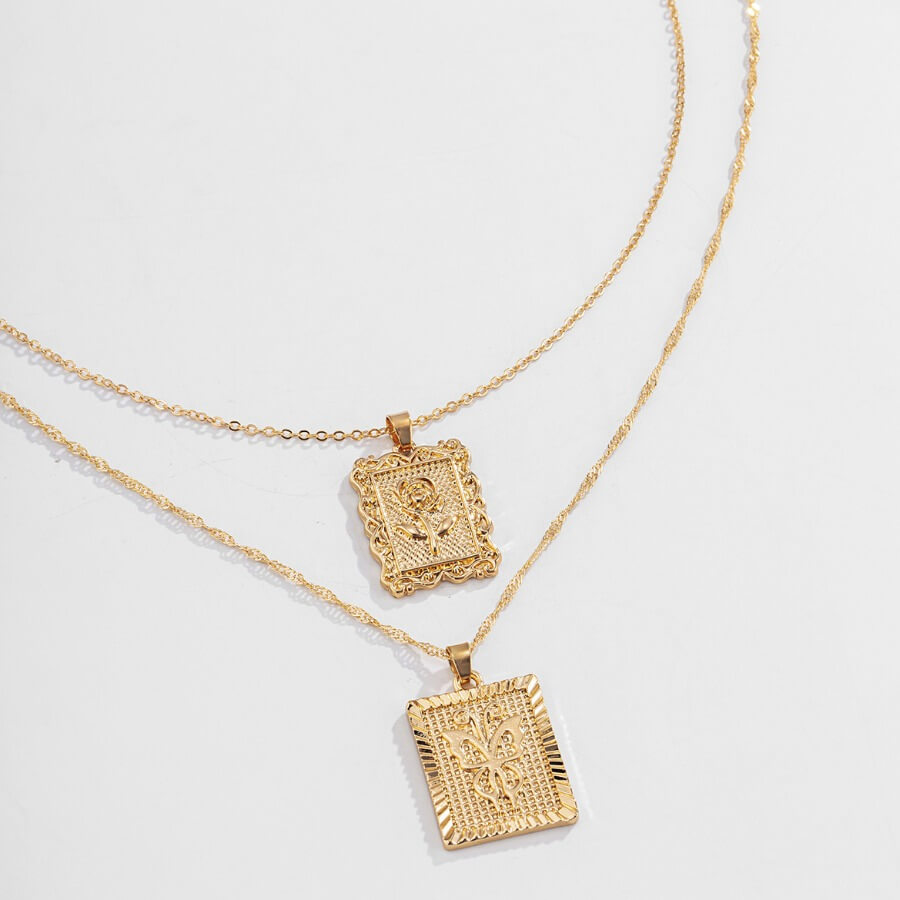 LW Lovely Retro 2-piece Gold Necklace