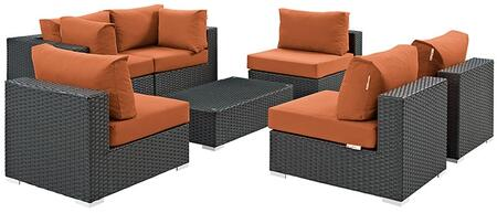 Sojourn Collection EEI-1883-CHC-TUS-SET 7 PC Outdoor Patio Sectional Set with Powder Coated Aluminum Frame  Synthetic Rattan Weave Material and