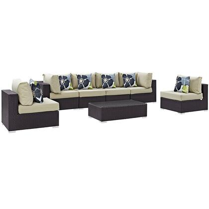Convene Collection EEI-2357-EXP-BEI-SET 7-Piece Outdoor Patio Sectional Set with 4 Armless Chairs  2 Corner Sections and Coffee Table in Espresso