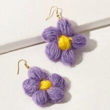 Knit Floral Drop Earrings