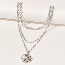 Chinese Dragon Layered Chain Necklace