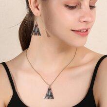 3pcs Triangle Decor Jewelry Set