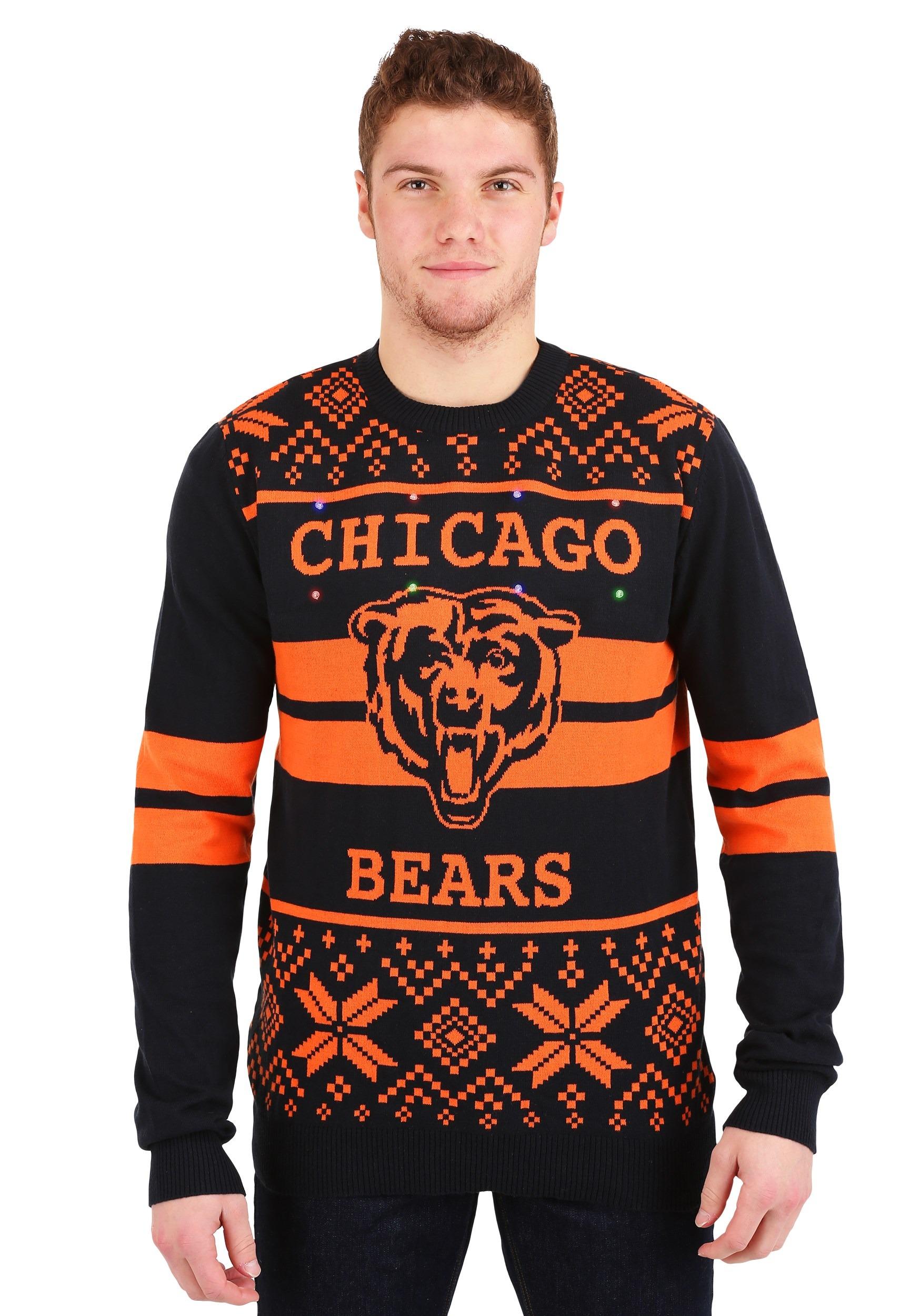 2 Stripe Big Logo Light Up Sweater Chicago Bears