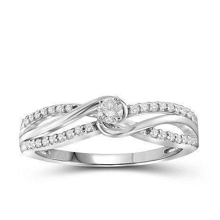 Diamond 10K White Gold Ring, 6 , No Color Family
