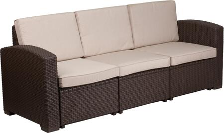 DAD-SF1-3-GG Chocolate Brown Faux Rattan Sofa with All-Weather Beige