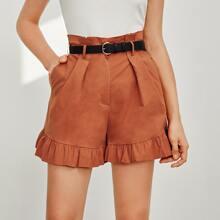 Shorts mit Papiertasche Taille, Rueschenbesatz und Guertel