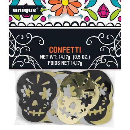 Jour de crâne en feuille d'Halloween des confettis morts pour décor de fête, 0.5 oz, 1pcs