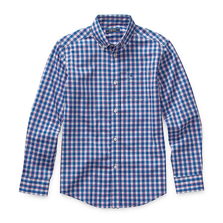 IZOD Big Boys Long Sleeve Button-Down Shirt, Medium (10-12) , Pink