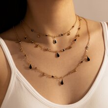 Water Drop Charm Layered Necklace