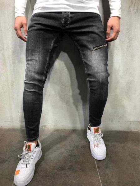Yoins Men Casual Knee Zipper Elastic Waist Drawstring Jeans