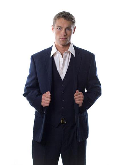 Caravelli Mens Single Breasted 2 Button Navy 3-piece Vested Suit