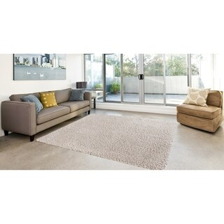 Concord Global Ocean Shag Solid Area Rug (Ivory 3'3
