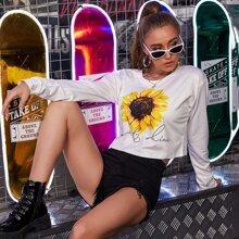Letter & Sunflower Print Crop Sweatshirt