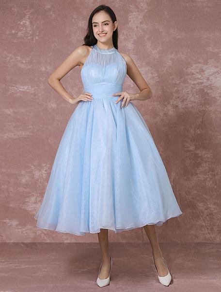 Milanoo Blue Wedding Dress Short Tulle Vintage Bridal Dress Halter Backless Ball Gown Cocktail Dress Tea-length Party Dress