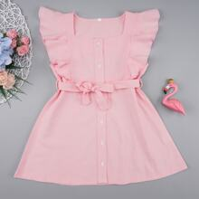 Toddler Girls Button Front Ruffle Trim Belted Dress