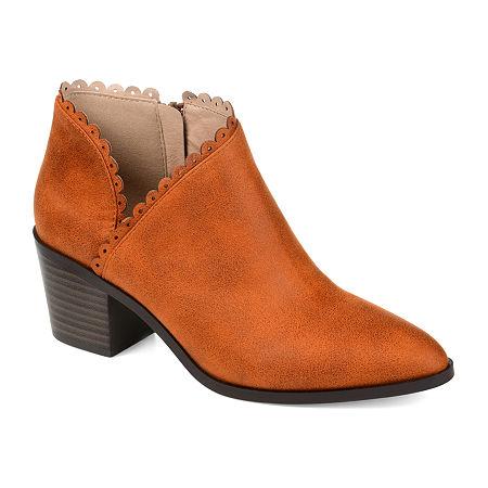 Journee Collection Womens Tessa Stacked Heel Booties, 6 1/2 Medium, Brown