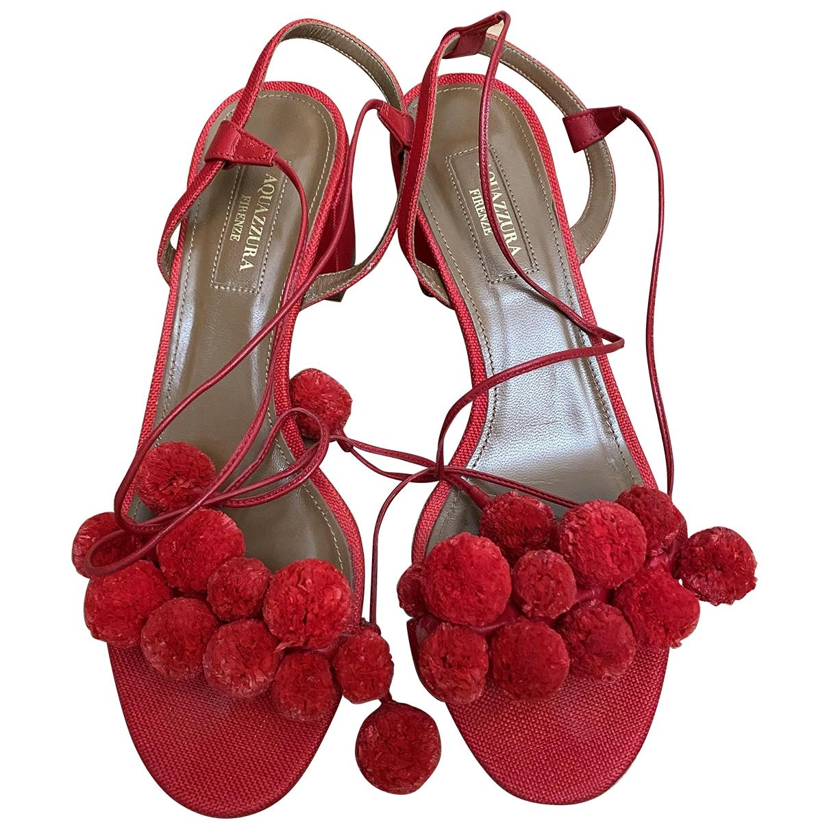 Aquazzura \N Red Cloth Sandals for Women 37.5 EU