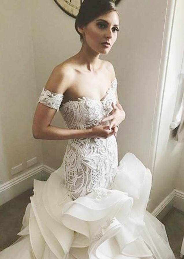 Superbes robes de mariee sirene a volants hors de lepaule   2021 dentelle blanche appliques robe de mariee a glissiere