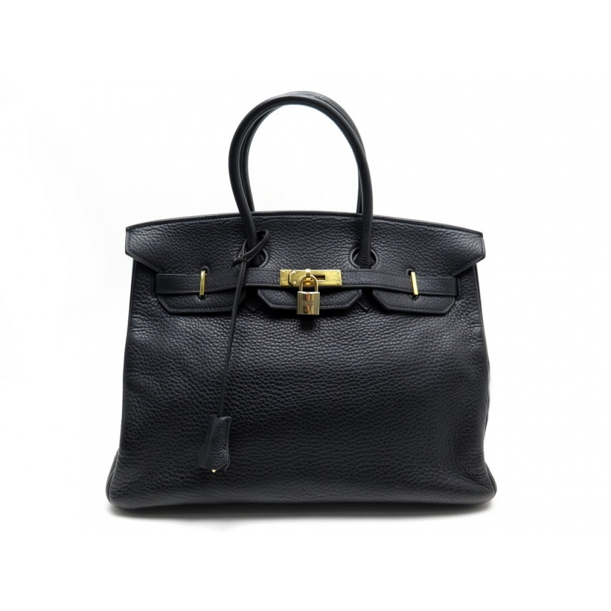 Hermes - Sac a main Birkin 35 pour femme en cuir - noir