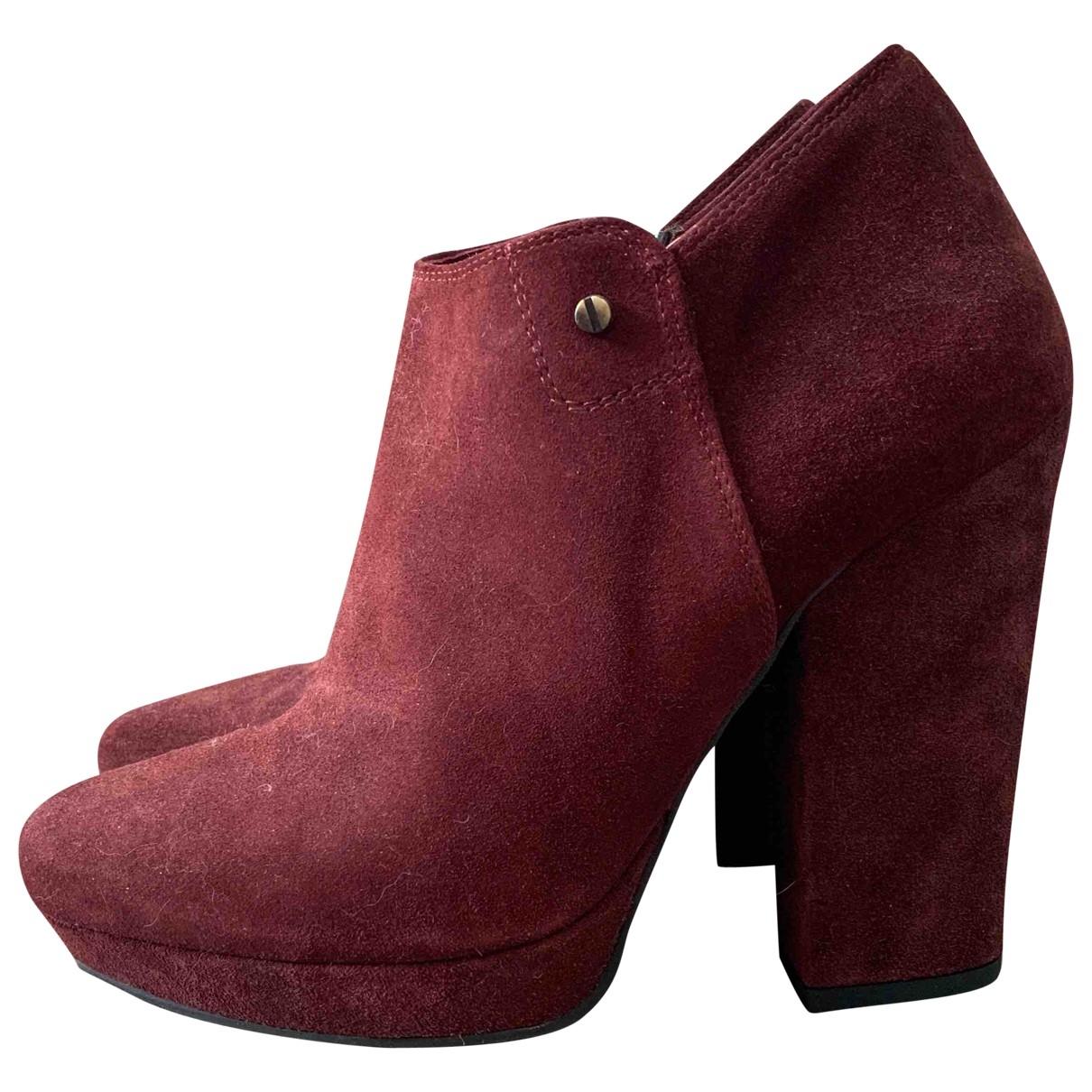- Boots   pour femme en suede - bordeaux