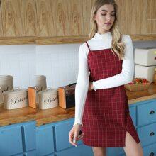 Corduroy Plaid Split Dress