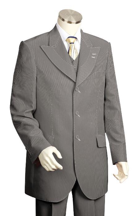 3 Piece 3 Button Charcoal Vested Zoot Suit Mens