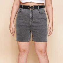 Shorts denim bajo crudo sin cinturon