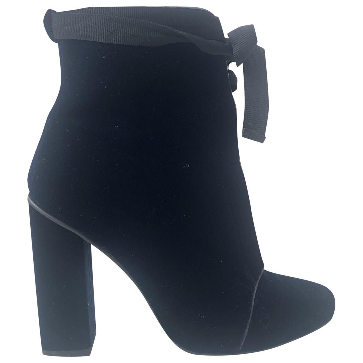 Zara - Boots   pour femme en velours - bleu
