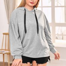 Plus Drawstring Hooded Oversized Sweatshirt