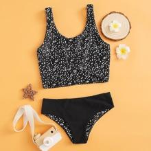 Bañador bikini de niñas bajo con nudo floral de margarita