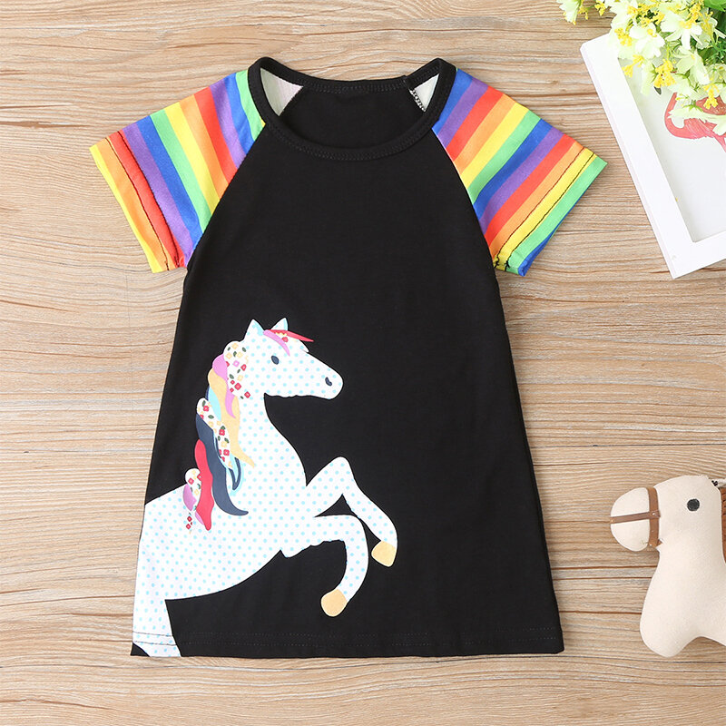 Girl's Unicorn Striped Print Patchwork Short Sleeves Casual Dress For 1-8Y