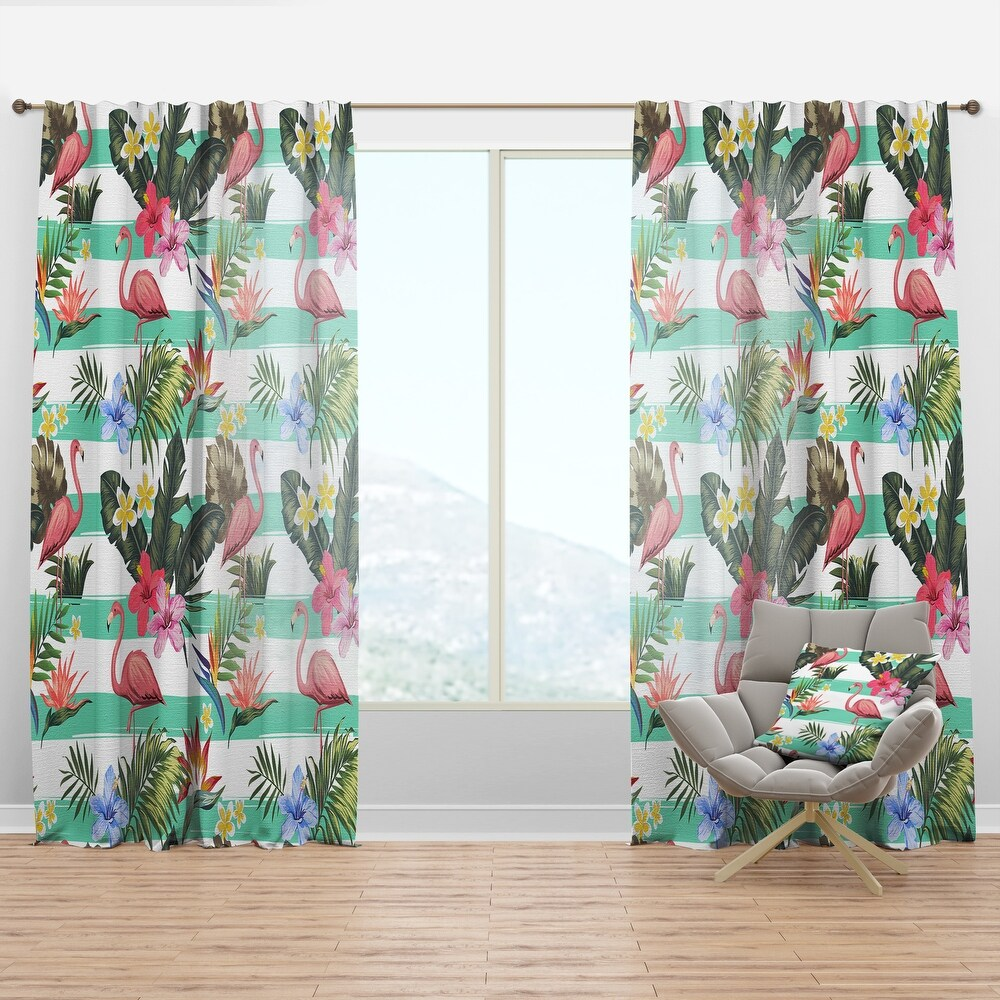 Designart 'Tropical Botanicals, Flowers And Flamingo' Mid-Century Modern Curtain Panel (50 in. wide x 63 in. high - 1 Panel)
