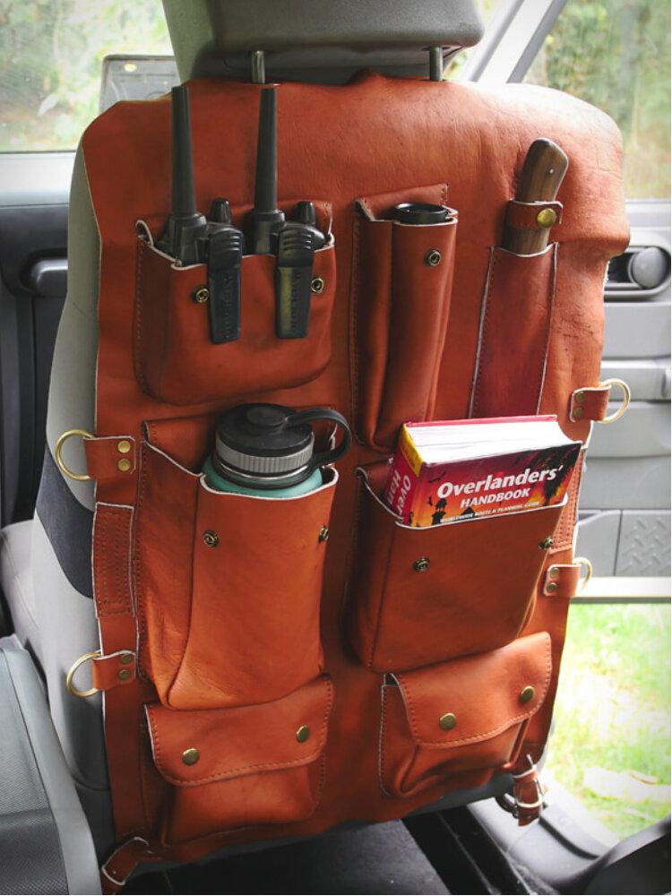 Faux Leather Multi-Function Waterproof Car Storage Bag Hanging Bag Car Seat Back Cover Organizer