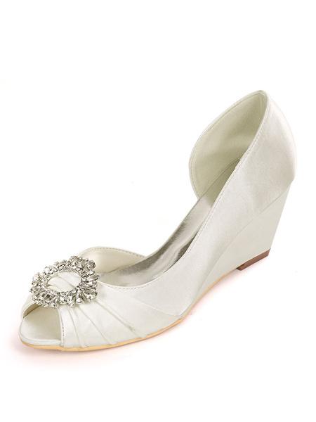 Milanoo Satin Wedding Shoes Ivory Rhinestones Peep Toe Wedge Heel Bridal Shoes Mother Shoes