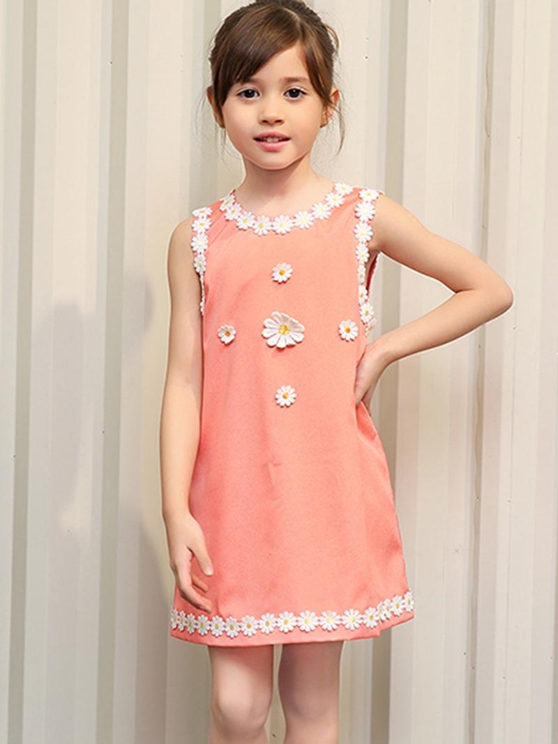 Ericdress Lace-Trim Appliques Sleeveless Girls Dress