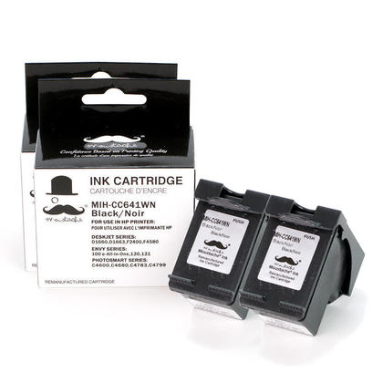 Compatible HP 60XL CC641WN Black Ink Cartridge High Yield - Moustache - 2/Pack