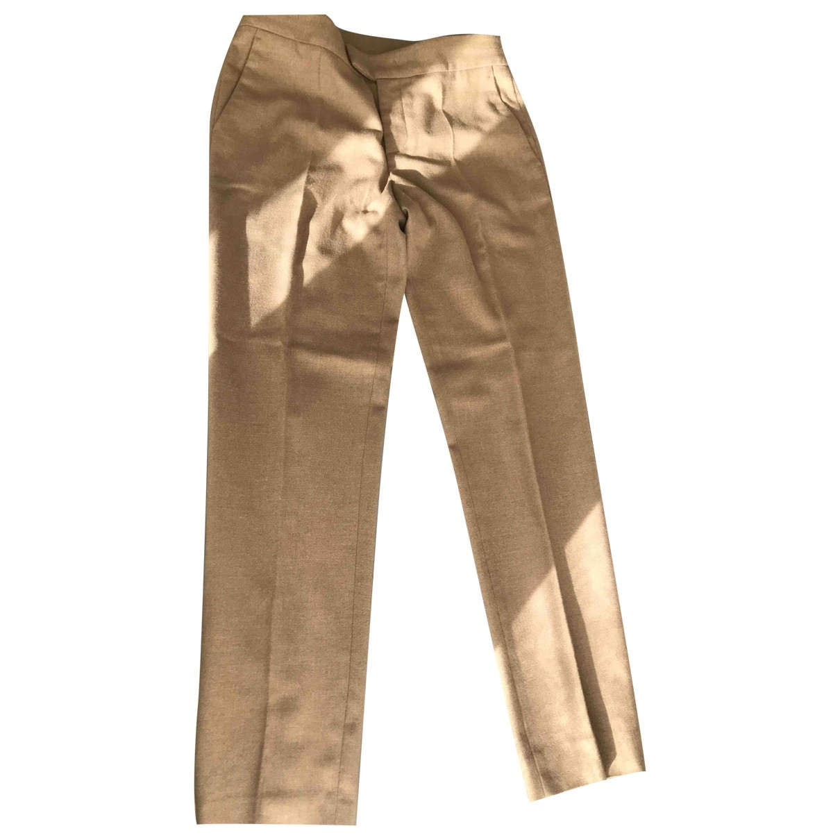 Red Valentino Garavani \N Beige Wool Trousers for Women 40 IT